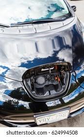 Denver, Colorado, USA-April 19, 2017.  Electric car Nissan Leaf 2015.