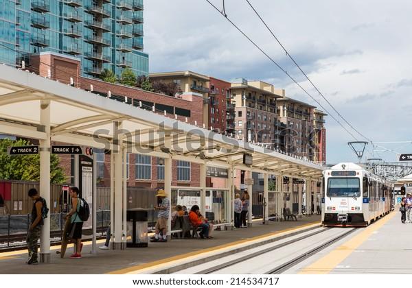 Denver, Colorado, USA-August 31, 2014. Union Station lightrail stop in downtown Denver, Colorado.