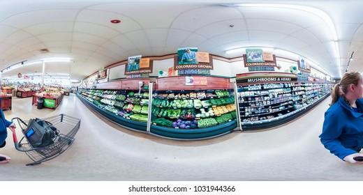 Denver, Colorado, USA-December 20, 2017-360 VR - Grociery shopping inside typical American grociery store.