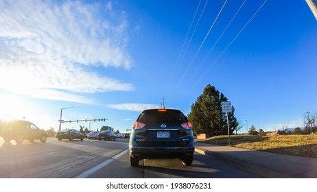 Denver, Colorado, USA-January 13, 2020 - Driving on typical paved roads in suburban America.