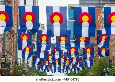 Denver, Colorado, USA-June 20, 2016. Historical Larimer Squarre in the Summer.