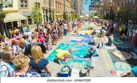 Denver, Colorado, USA-June 4, 2017.  POV point of view - Annual Chalk Festival on Larimer Square.