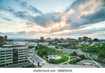 Denver, Colorado, USA-June 5, 2015. Aerial view of urban park in business park.