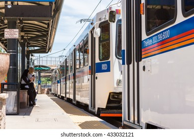 Denver, Colorado, USA-June 6, 2016. Downtown Littleton light rail station in the Summer.