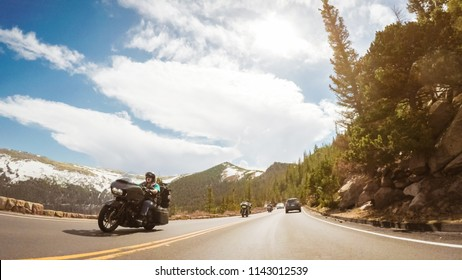 Denver, Colorado, USA-May 27, 2018 - Driving on Trail Ridge Road on openning weekend of the season in Rocky Mountain National Park.