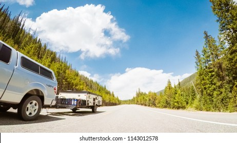 Denver, Colorado, USA-May 27, 2018 - Driving on mountain highway 40 over Berthoud Pass in the Summer.