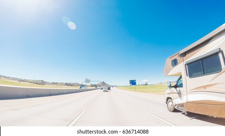 Denver, Colorado, USA-May 6, 2017.  POV point of view - Driving South on interstate highway I25 in middle Spring.