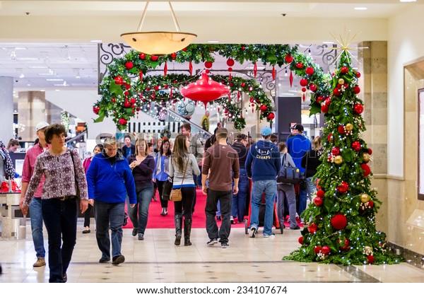 Denver, Colorado, USA-November 28, 2014. Typical North American mall on Black Friday shopping.