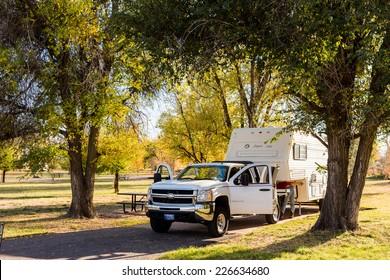 Denver, Colorado, USA-October 26, 2014. Camping in late Autumn in Colorado.