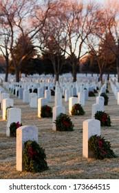 Denver, Colorado-December 16, 2012:  Christmas Honors at the Fort Logan National Cemetery, Denver.