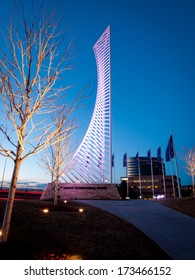 Denver, Colorado-January 23, 2012: The Denver Tech Center is symbolized by the DTC Identity Monument, which meant to resemble the framework of a skyscraper.