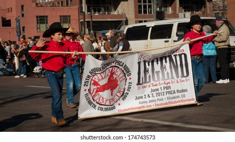 Denver, Colorado-January 5, 2012: Annual  National Western Stock Show Parade, travels up 17 Street.