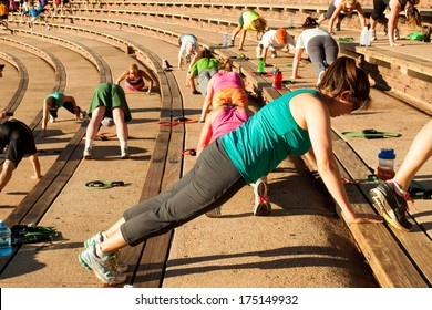 Denver, Colorado-July 21, 2012: Annual Fitness on the Rocks event at the Red Rocks Amphitheater.