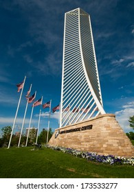 Denver, Colorado-May 3, 2012: The Denver Tech Center is symbolized by the DTC Identity Monument, which meant to resemble the framework of a skyscraper.