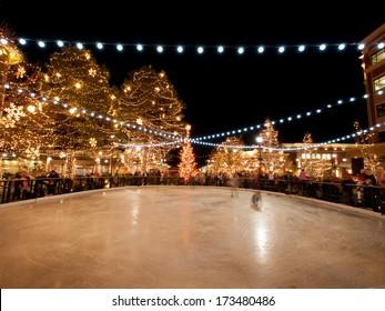 Denver, Colorado-November 18, 2011: 3rd Annual Christmas Tree Lighting at the Streets of Southglenn. Denver, Colorado.