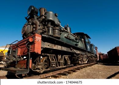 Denver, Colorado-November 29, 2011: Georgetown Loop steam locomotove at the end of the tracks.