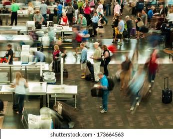 Denver, Colorado-September 16, 2012: TSA lines at Denver International Airport, Colorado.