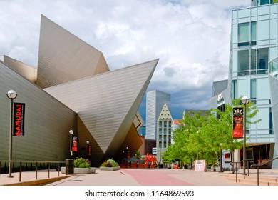 denver, colorado/united states - 5/28/2016: denver art museum plaza with view of contemporary building of frederic C. Hamilton