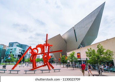 denver ,colorado,usa. 06/11/17: denver art museum on sunny day.