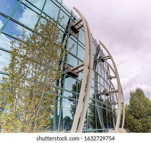 Denver CO/USA - 2017: Completed in 2005, the Rose Medical Center Founder's building includes a 2 story glass enclosed atrium built by Calcon Construction
