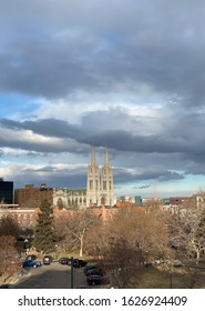 Denver, CO/USA- January 17, 2020: In capitol hill, the Cathedral of the Immaculate Conception is pictured against the dark blue skies. It was the first Catholic Church in Denver.