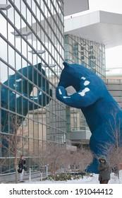 DENVER - DEC 4: Famous Blue bear sculpture outside Denver Convention Center on December 4, 2011.