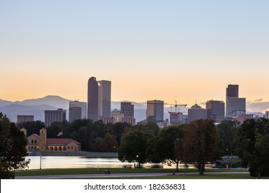 Denver downtown skyline and rocky mountain at sunset