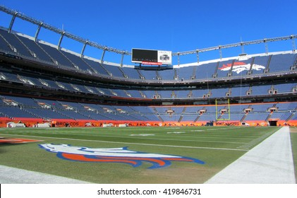 DENVER - JANUARY 9, 2014: Sports Authority Field at Mile High in Denver Colorado on January 9, 2014. Sports Authority Field is home to the NFL's Denver Broncos.