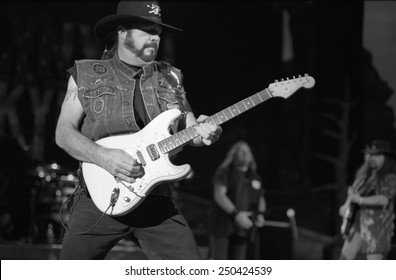 DENVERJULY 02:Guitarist Hughie Thomasson of the Southern Rock Band Lynyrd Skynyrd performs in concert July 24, 2002 at Red Rocks Amphitheater in Denver, CO.