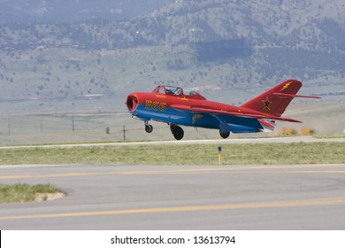 DENVER - June 7: A MIG-17 lands at the Rocky Mountain Metro Airport Open House on June 7, 2008 in Denver, CO.