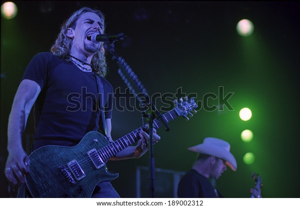 DENVERMAY 14: Vocalist/Guitarist Chad Kroeger of the Heavy Metal band Nickelback performs in concert May 14, 2002 at the The Fillmore in Denver, CO.