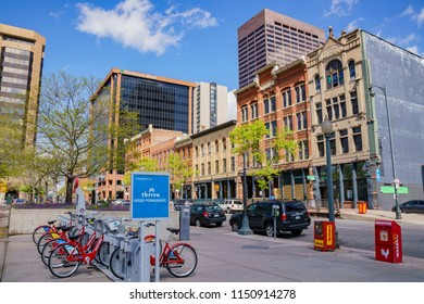 Denver, MAY 3: Bicycle rental service in downtown on MAY 3, 2017 at Denver, Colorado