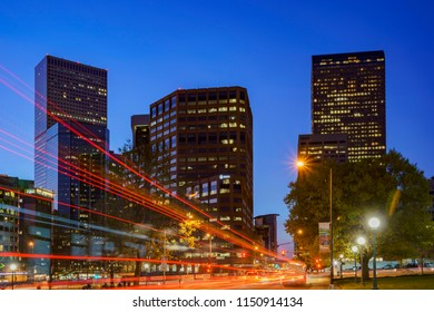 Denver, MAY 3: Night street view on the Civic Center on MAY 3, 2017 at Denver, Colorado