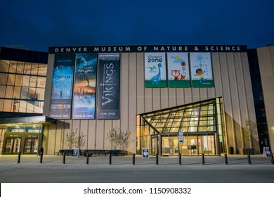 Denver, MAY 6: Night view of the Denver Museum of Nature and Science on MAY 6, 2017 at Denver, Colorado