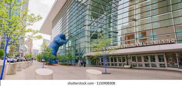 Denver, MAY 7: Special Big Blue Bear statue on MAY 7, 2017 at Denver, Colorado
