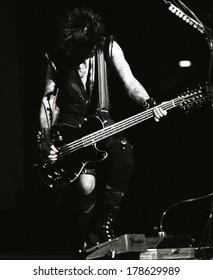 DENVERNOVEMBER 01:Bassist Nikki Sixx of the Heavy Metal band Motley Crue performs in concert November 1, 1997 at McNichols Arena in Denver, CO.