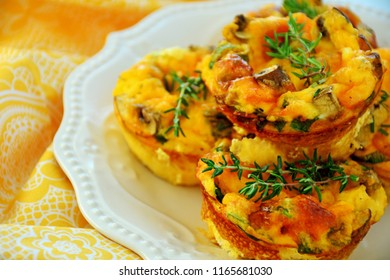 Denver omelet breakfast muffins shot in horiaontal format in natural light