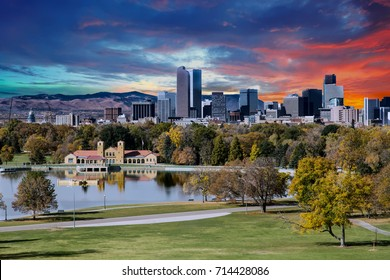 Denver skyline across city park in autumn