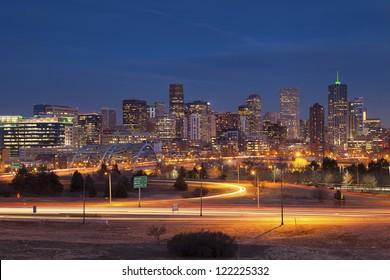 Denver Skyline. Image of Denver Skyline and busy highway in the foreground.