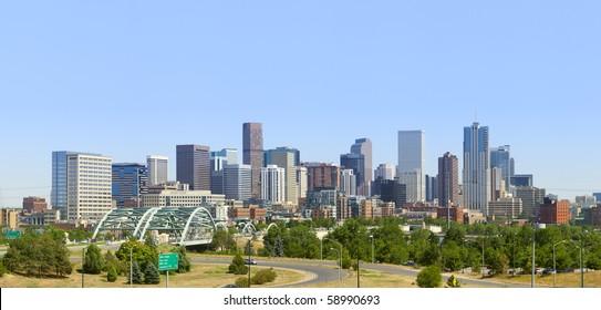Denver Skyline Panorama 2010. Late afternoon summer.