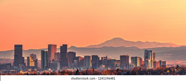 Denver skyline and the Pikes Peak at sunset - Super High Resolution Image