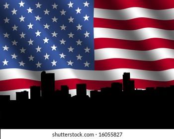 Denver skyline with rippled American flag illustration