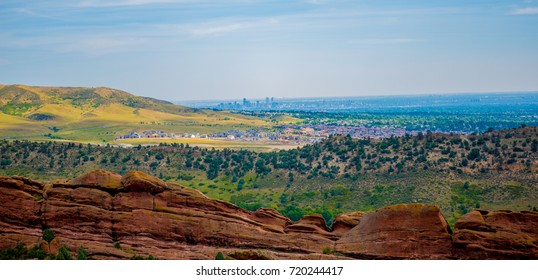The Denver skyline as seen from the Red Rocks amphitheater.