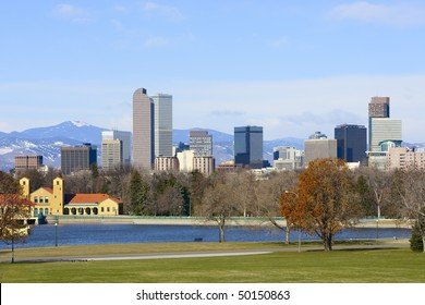 Denver Skyline Spring 2010. Mid-morning light illuminating city.