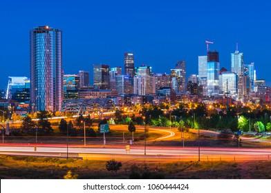 denver skyscraper at night,denver,colorado,usa.