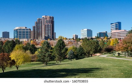 The Denver Tech Center skyline, or DTC, in Autumn with beautiful trees
