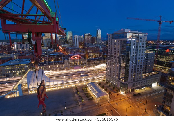 DENVER, USA - August 11, 2015 - Denver's newly remodeled Union Station view from a construction crane. It's a transit station for train and bus and hosts an array of shops, food, drink and a hotel.