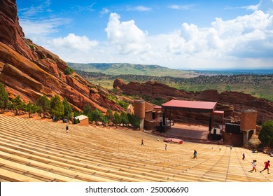 Denver, USA: July 21, 2012: Famous Red Rocks Amphitheater in Morrison. It is a rock structure near Morrison, Colorado, 10 miles west of Denver, where concerts are given in the open-air amphitheatre.