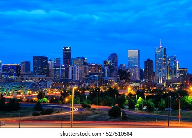 DENVER, USA - JULY, 4: Skyline of Denver at night on July 4, 2013  in Colorado, USA. Denver is the most populous city in Colorado.
