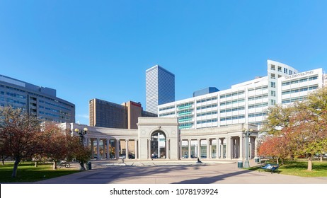 Denver, USA - November 04, 2016: Denver modern skyline seen from the Civic Center Park on a sunny day.